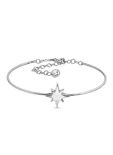 Argentum Concept Kuzey Yıldızı Motifli Gümüş Bilekten Geçmeli Kelepçe Gümüş